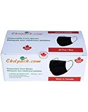 Black Face Masks, Made in Canada - Pack of 50 - Disposable 3 Layered Face Masks, Perfect for Indoor & Outdoor Use, Unisex, Elastic Ear-loops and Adjustable Nose Bridge Strip, CKDCares