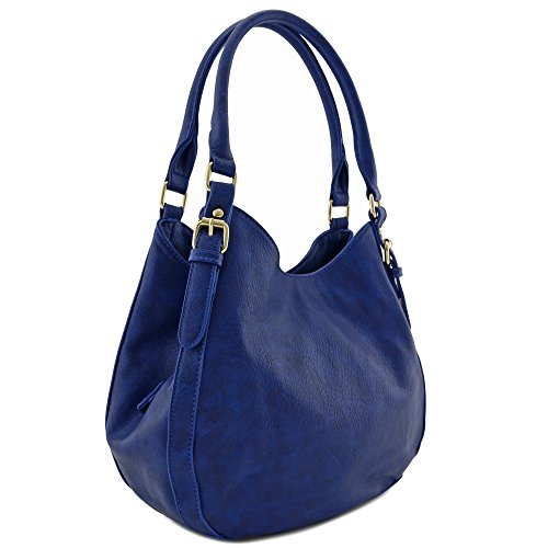 - Light-weight 3 Compartment Faux Leather Medium Hobo Bag (Royal Blue)