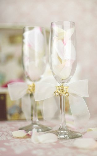 Elegant Fairy Tale Cinderella Coach Wedding Toasting Glasses (Silver/Gold): Coach Color: GOLD - Bow Color: WHITE