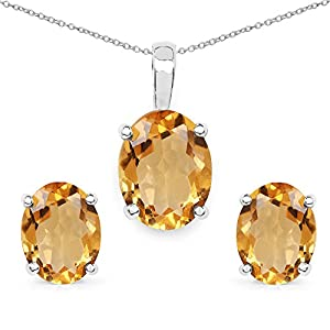 Citrine .925 Sterling Silver Stud Earrings; Solitaire Pendant for Women 3.30ctw. from Johareez