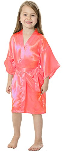 JOYTTON Kids' Satin Rayon Kimono Robe Bathrobe Nightgown (6,Watermelon Red)
