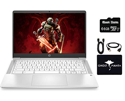 """2020 Newest HP Chromebook 14"""" HD Laptop for Business and Student, Intel Celeron N4000, 4GB RAM, 32GB eMMC, Backlit-KB, Webcam, Fast Charge, WiFi, USB-A&C, Chrome OS, w/64GB SD Card, GM Accessories"""