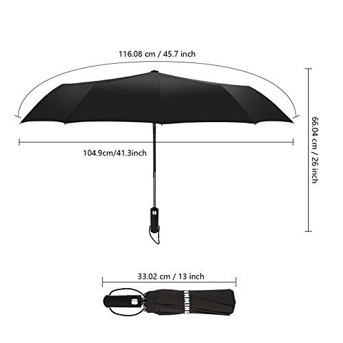 Punming Umbrella,Windproof Compact Travel Umbrella 60MPH/300T Auto Open Close Folding Umbrella (Black) by Punming (Image #3)