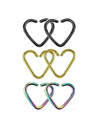 BODYA assoted 4 colors 18 gauge tiny niobium Heart Captive Ring daith Ear Cartilage Earring Rook tragus Helix piercing Jewelry