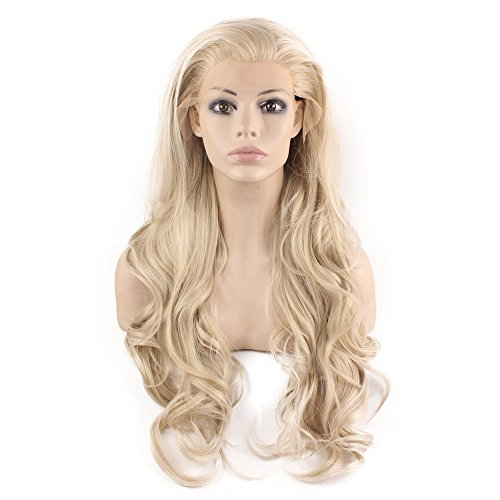 Dirty Angel Costume (Mxangel Long Wavy Celebrity Natural Hairline Ash Blond Synthetic Lace Front Wig)
