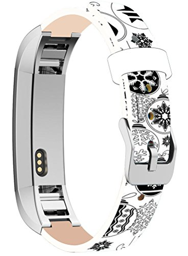 Bands Replacement For Fitbit Alta HR, Cisland Compatible Straps Replacement For Fitbit Alta (HR) Silver Connectors + Christmas Printing Theme Design Stocking Snowflake