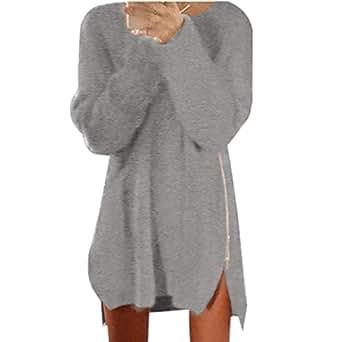 HN Autumn Winter Women Side Zip Chunky Knitted Sweater (S, Gray)