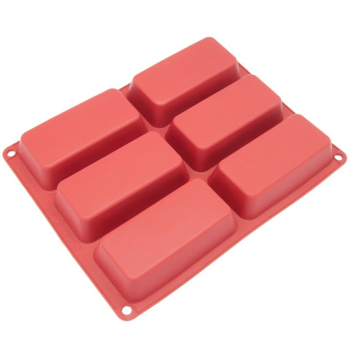Freshware CB-104RD 6-Cavity Mini Silicone Mold for Soap, Bread, Loaf, Muffin, Brownie, Cornbread, Cheesecake, Pudding, and More