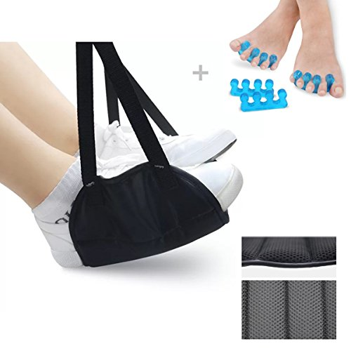Airplane Footrest with Memory Foam,Adjustable Height Footrest Foot Hammock for Office or Home,Portable Foot Rest Flight,Travel Accessories Footrests for Airplane,Train or Bus by RF REENFAYA