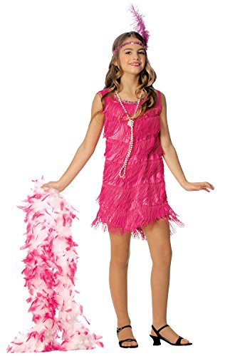 Official Costumes Flapper Kids Costume, Hot Pink, Medium - Child Flapper Dress