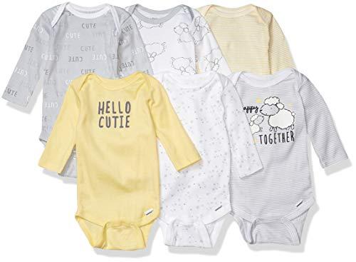 Gerber baby girls 6-pack Long-sleeve Onesies 6 Pack Long Sleeve Onesies Bodysuit, Sheep, 3-6 Months US
