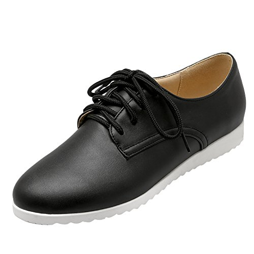 Oxford up Lace Black Shoes Flat Latasa Women's EPxqIE4