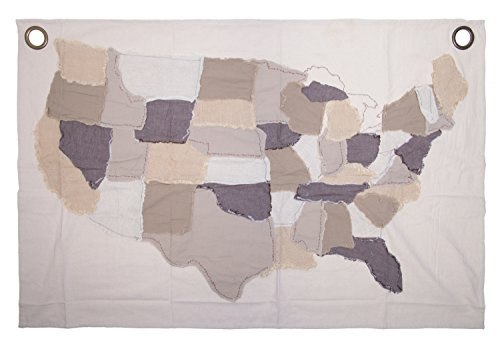 (Red Co. Antique Cotton Stitched USA Map with Grommets, Fine Art Tapestries, Home Wall Décor, 47