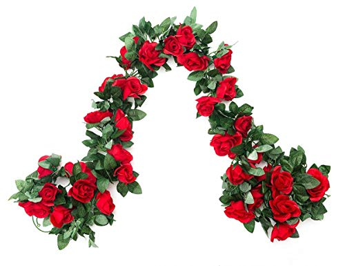 EDIFIERY 2 Pack (16FT) Artificial Rose Vine Flowers Plants Fake Flower Vine For Wedding Home Party Garden Craft Art Decor Red