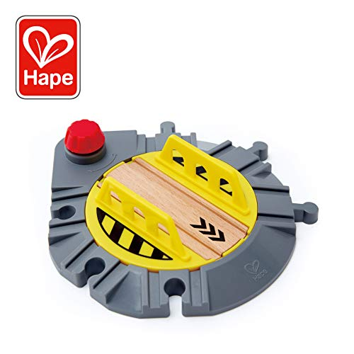 Hape Adjustable Rail Turntable | Wooden Train Track Accessory, Rotating Mechanical Junction with Red Turning Knob, Fits Leading Railway Brands for Kids 3+ - Turntable Thomas Train