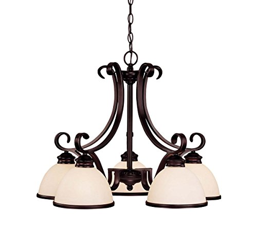 Savoy House 1-5776-5-13 Chandelier with Cream Marble Shades, English Bronze Finish