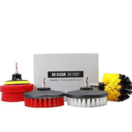 Power Scrubber Set: Drill Brush & Scrub Pad - Clean Hard Water & Soap Scum 5X Faster - for Tile, Grout, Rim, Corner, Floor, Carpet, Glass Doors, Fiberglass Tubs