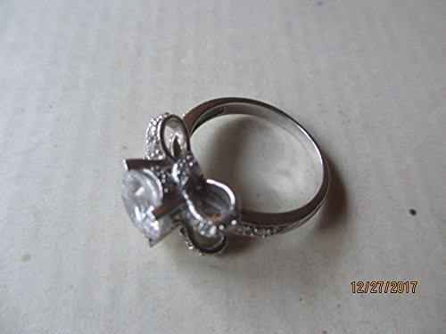 - Unique Beautiful Signed IA Sterling Silver .925 CZ Ring, Vintage Sterling Silver Ribbon Bow Design Ring, Maid of honor gift