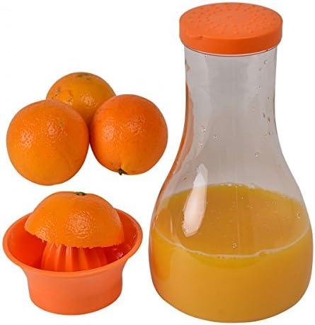Zitronenpresse Kanne Entsafter Saftpresse Farbe:Orange Karaffe mit Zitruspresse und Deckel Wasserkaraffe Orangenpresse