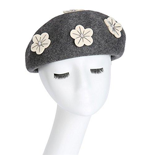 Un Mujer De Sombrero Boina Femenino Zhou Otoño Vintage Pintor Con Lana Color Boinas Berets Sólido Calabaza Paño Gorra Gris Flores Yunshan EqYXz