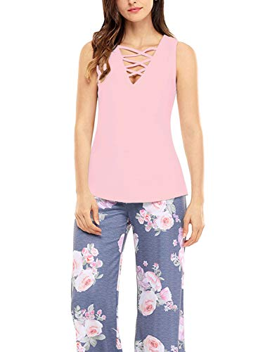 Atlantic Tank Top - FIYOTE Women Plus Size Sexy Casual Blouse Lace Up Tank Top Shirt XX-Large Size Pink