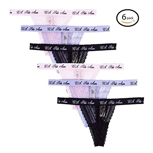 U.S. Polo Assn.. Womens 6 Pack Seamless No Panty Lines Hi Cut Lace Thong Panties Black/Grey/Pink Large by U.S. Polo Assn.