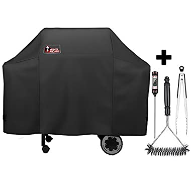 Kingkong 7573 / 7106 Grill Cover with Grill Brush, Tongs and Thermometer for Weber Spirit 200, 300 Series and Weber Genesis Silver Gas Grill