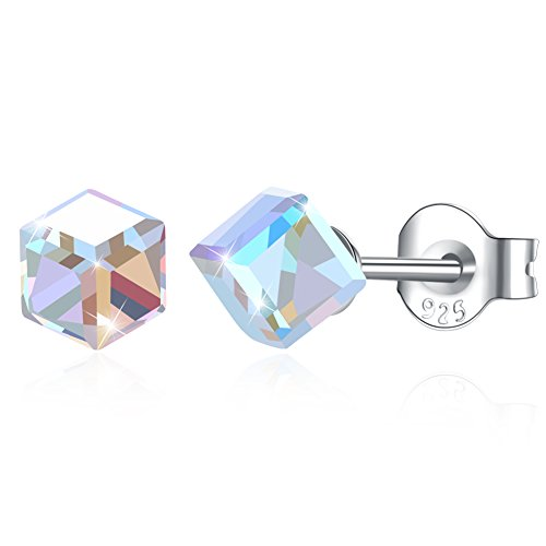 KNKNKN LEKANI 925 Sterling Silver Cube Swarovski Crystal Stud Earring Hypoallergenic Earrings for Women Girls (Withe AB) -