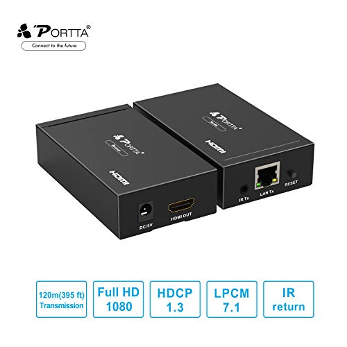 - Portta HDMI Extender 1080p 120m,Ethernet Network Extender Over Single UTP CAT5e/CAT6 TCP/IP with IR Supports Ultra HD 1080P 3D HDCP for HDTV PS3 PS4 HD-DVD/Blue-Ray