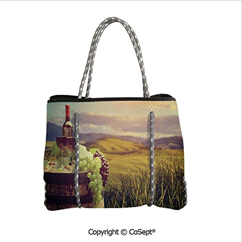 Convenient Beach Tote Bag,Italy Tuscany Landscape Rural Vineyard Autumn Harvest Grapes Drink Viticulture Decorative,for Gym Hiking Picnic Travel Beach(14.9