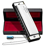 ARTHOMES Harmonica, Blues Harmonica Key of C 10 Holes 20 Tones with Mini Harmonica Necklace Case and Cleaning Cloth for Professional Player Beginner Students Children Kids