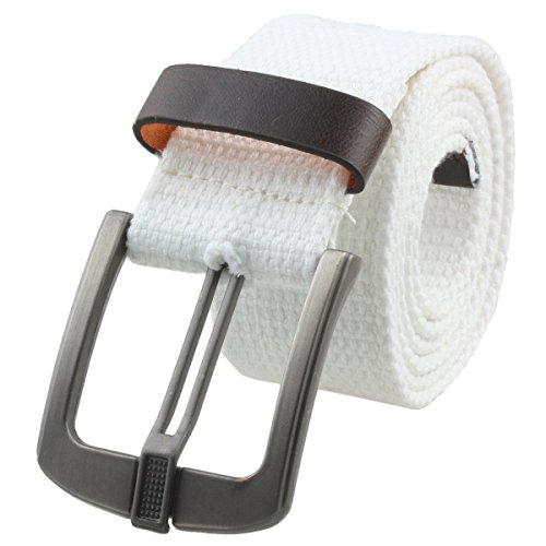 Samtree Canvas Web Belts for Women Men,Adjustable Multi-color Hole Buckle Belt (White)