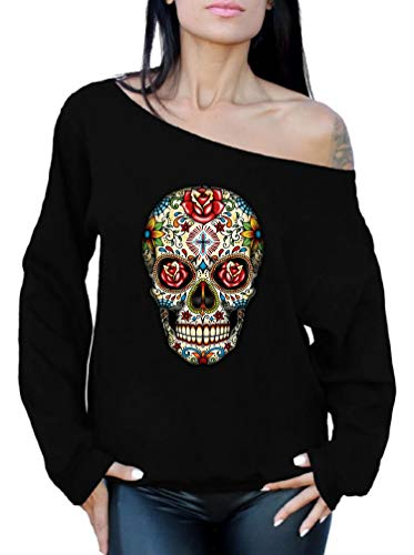 Awkwardstyles Women's Sexy Off The Shoulder Slouchy Oversized Sweatshirt (Medium, Sugar Skull Sweatshirt) ()