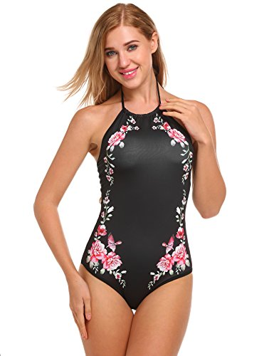 Floral Halter Piece One (Ekouaer Womens Bathing Suit Halter High Neck Backless One Piece Swimsuit (5472- Black Floral, Medium))