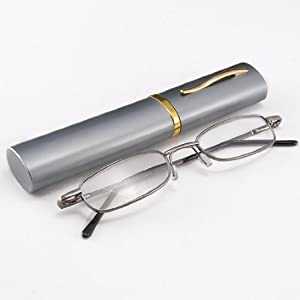 Jambo Gunmetal Slim Mini Eyeglasses Full Frame Reading eyewear glasses Reader +1.00 Pocket Clip Clamp Aluminium Case