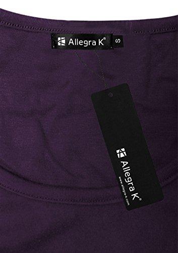 sorcingmap® Allegra K Damen Tief Rundausschnitt Langarm Saum kittel Shirt Bluse Dress ylpLFqpi3c