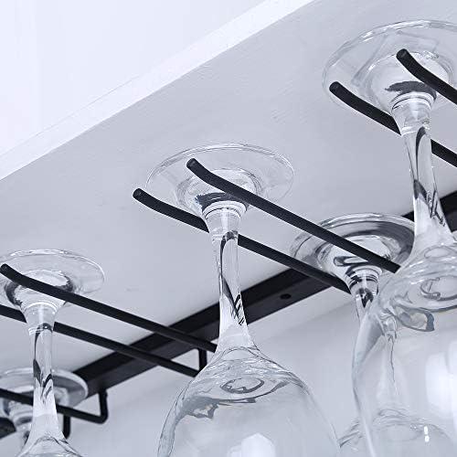 Bar Aufbewahrungshaken f/ür Schrank K/üche Weinglas-Halter Draht Stielglas-Aufh/änger Amusingtao Weingl/äser-Regal unter dem Schrank