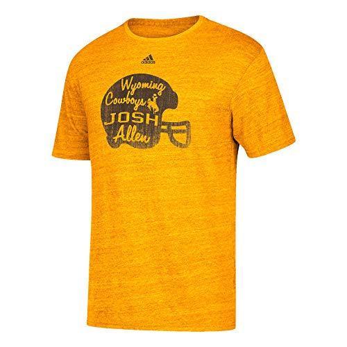 adidas Josh Allen Wyoming Cowboys Men's Player Tri-Blend Distressed T-Shirt Yellow (Medium)