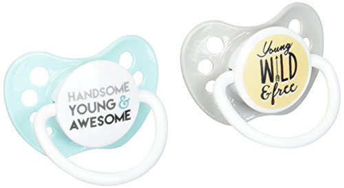 Ulubulu Handsome, Young and Awesome & Young, Wild and Free Boy Pacifier, 6-18 Months (Pacifiers With Sayings)