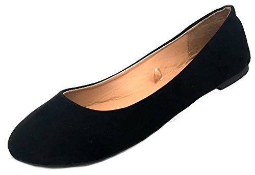 Shoes8teen Shoes 18 Womens Faux Suede Strass Ballerina Ballerine Scarpe 4055a Nero / Nero
