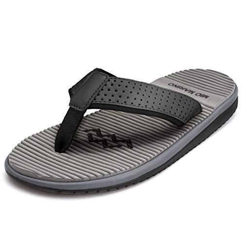 Mio Marino Mens Flip Flops - Beach Comfortable Thong Flip Flops for Men - with Memory Foam (Rainstorm Gray, 12)