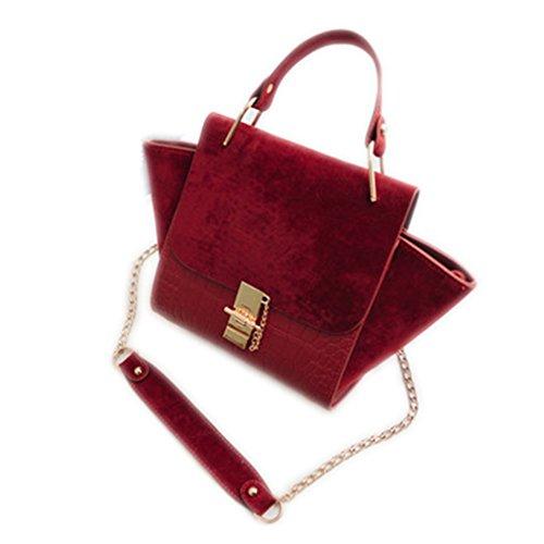(Beautyfronta Chain Vintage Patchwork Nubuck Leather Handbags Women Crossbody Messenger Bag red without plush 34x21x21)
