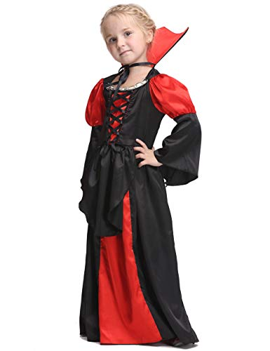 Lopbraa Vampire Costume Outfit Bloodsucker Gown for Halloween Party for Girls Age 3-9, S(for Height of 95-105cm/34.7