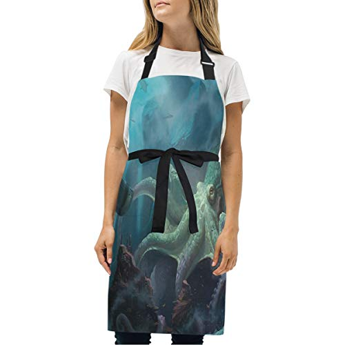 HJudge Womens Aprons Nautilus Wallpaper Kitchen Bib Aprons with Pockets Adjustable Buckle on Neck ()