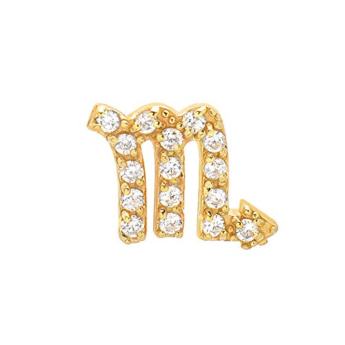 14k Yellow Gold Brilliant Diamond Accented Scorpio Zodiac Single Earring (14k Zodiac Earrings)