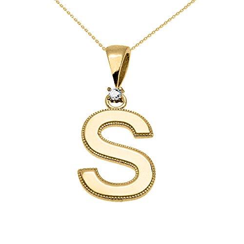 """Collier Femme Pendentif 14 Ct Or Jaune Poli Élevé Milgrain Solitaire Diamant """"S"""" Initiale (Livré avec une 45cm Chaîne)"""