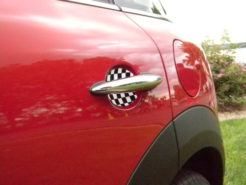 Cupeez for Cars Mini Cooper Checkered Flag Car Door Handle Scratch Guards Protectors Qty 2 Fit All