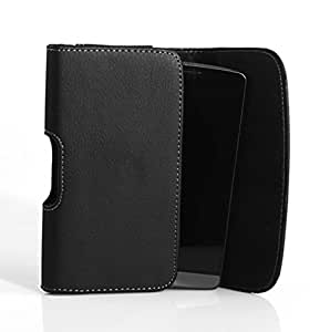 Horizontal Sideways Leather Belt Clip Case Cover Pouch Holster for HTC One M8 & One (2014) & One (M8) Harman Kardon edition & One (M8) Google Play edition / Fits with Otterbox Commuter & Defender & Reflex