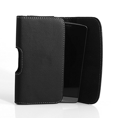 Horizontal Sideways Leather Belt Clip Case Cover Pouch Holster for Motorola DROID Turbo * Fits with Otterbox Commuter & Defender & Reflex