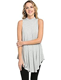 87c36fb1466 Basic Solid Long Flowy Tank T-Shirt Tunic - Made in USA